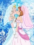 anna_(frozen) big_breasts breasts cleavage disney elsa frozen_(movie) incest kissing luckyladyxandra sisters wedding wedding_dress wedding_veil yuri