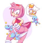"amy_rose ass breasts chao green_eyes heart heart_eyes miles_""tails""_prower multiple_tails nipples panties panty_pull penis pink_fur sega single_breast sonic_(series) tail"