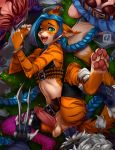 anal anal_penetration anthro blue_hair bound braided_hair cat clothed clothing cosplay crossdressing dragonfu erection feline fur furry girly green_eyes hair handcuffs jinx_(lol) league_of_legends looking_up male male/male mammal navel orange_fur pawpads penetration penis pink_nose precum rengar_(lol) shackles spread_legs spreading stripes testicles video_games