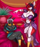 2016 anthro anubian_jackal big_breasts big_penis black_fur black_penis blueavis breasts canine cleavage clothed clothing dancing ear_piercing egyptian eradragon fangs fur furry green_eyes hair harem herm horn intersex jackal jewelry mammal multicolored_hair navel necklace nipples open_mouth penis piercing red_eyes romantic_couple skimpy teeth testicles tongue tongue_out vein