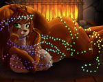1girl 1girl 2016 anthro areola ass breasts brown_hair cheezayballz christmas_lights fire fireplace furry green_eyes hair inside long_hair looking_at_viewer lying mammal nipple_piercing nipples piercing red_panda