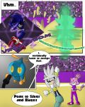 1girl anthro blaze_the_cat breasts cat clothed clothing comic dialogue english_text feline fur furry gloves grey_fur hedgehog male mammal metal_sonic midriff navel omochao purple_fur sandunky sega shadow_the_hedgehog silver_the_hedgehog simple_background sport text video_games volleyball yellow_eyes
