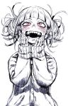 1girl bangs blush boku_no_hero_academia cardigan double_bun fangs hands_on_own_face himiko_toga messy_hair monochrome murakami_hisashi my_hero_academia nightmare_fuel open_mouth school_uniform serafuku sharp_teeth smile teeth toga_himiko yandere_trance