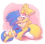 """anthro barefoot blue_eyes blue_fur blush canine fox fur furry green_eyes hedgehog kissing male male/male mammal miles_""""tails""""_prower nude open_mouth penis rexin romantic_couple sega simple_background sonic_the_hedgehog teeth tongue uncut video_games yellow_fur"""