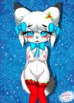 1girl 1girl 2016 anthro areola blush breasts canine chest_tuft chibi christmas clothing crying digital_media_(artwork) eyelashes fox fur furry hair high_res holidays kemono legwear looking_at_viewer mammal milkteafox nipples pussy simple_background smile snowflake standing stockings tears tuft underwear white_fur