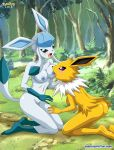 2_girls ass barefoot blue_skin blush breast_licking breast_press breasts day females forest glaceon jolteon licking multiple_girls nipples nude open_mouth outside pokemon pokeporn pokepornlive soles toes tongue tongue_out watermark yellow_skin yuri