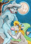 1girl 2016 animaniacs anthro breasts canine drooling duo erection fellatio full_moon fureverick_(artist) high_res male male/female mammal minerva_mink mink moon mustelid navel nude oral penis saliva sex traditional_media_(artwork) vein were werewolf wilford_wolf wolf