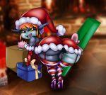 anus ass big_ass christmas female gift humanoid imp imp_midna looking_at_viewer looking_back midna nintendo no_panties present pussy santa_costume santa_hat solo the_legend_of_zelda thecon tisinrei twili twilight_princess