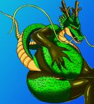 1girl ass big_ass blue_background breasts dragon dragon_ball dragon_ball_z eastern_dragon gloves green_skin hand_on_butt horns latex looking_at_viewer mane open_mouth presenting presenting_hindquarters red_eyes reptile scalie seductive shenron simple_background stockings teeth topless underwear voluptuous whiskers