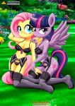 2_girls 2girls anthro bra breasts female_anthro fluttershy garter_belt horn lingerie looking_at_viewer mostly_nude my_little_pony palcomix panties stockings tagme twilight_sparkle wings