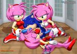 3girls amy_rose mobius_unleashed palcomix penis sega sex_toy sonic_(series) sonic_the_hedgehog tagme