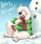1girl anthro candy candy_cane canine dog erection family_guy food furry jasper_(family_guy) komoroshi_(artist) male mammal penis scarf snow snowman testicles