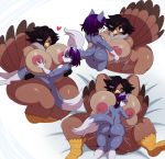 1girl anthro ass avian big_ass big_breasts bird breast_suck breastfeeding breasts canine duo erection feathers furry hair hands_behind_head heart larger_female male mammal multicolored_hair nipples nude paizuri penetration penis sex simple_background size_difference smaller_male sssonic2 sucking thick_thighs tongue tongue_out turkey white_background wolf