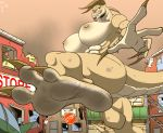 1girl 1girl 3_toes abs anthro areola ass biceps big_breasts big_feet breasts car claws deathclaw fallout feet foot_focus high_res horn humanoid_feet macro muscular muscular_female nipples non-mammal_breasts nude plantigrade reptile scalie stop_sign store teeth toe_claws toes vehicle video_games zp92