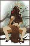 1girl 1girl anthro breasts cervine compass_(artist) elk furry looking_at_viewer mammal nipples nude sitting spread_legs spreading