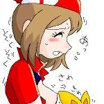 bloggerman game_freak haruka_(pokemon) lowres nintendo non-english_tag open_shirt pocket_monsters_(series) pokemon pokemon_(series) porkyman sideboob torchic うごたまろ
