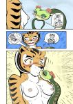 ♀ 1girl anthro blush breasts closed_eyes comic dreamworks feline female/female furry interspecies kissing kung_fu_panda mammal master_tigress master_viper nipples reptile scalie snake sweat tiger zenmigawa