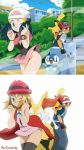 alternate_hair_style alternate_hairstyle artist_name ash_ketchum bench black_panties blonde blonde_hair blue_hair blush braixen city clothed clothed_female clothed_male dawn dawn_(pokemon) ecchi embarrassed looking_back non-nude o.o o_o one_eye_closed outside panties park park_bench pikachu piplup pokemon pokemon_(anime) pokemon_dppt pokemon_xy satoshi_(pokemon) serena serena_(pokemon) shocked short_hair simple_background skirt_lift surprised tamilucky white_background wind_blow wind_blowing wind_lift