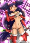 1girl \m/ alternate_costume bare_shoulders big_hair bikini black_bikini blush boots breasts brown_eyes choker christmas elbow_gloves full_body fur-trimmed_boots fur_boots fur_trim gloves hair_bobbles hair_ornament highres iris iris_(pokemon) long_hair looking_at_viewer micro_bikini open_mouth pokemon pokemon_(game) pokemon_bw purple_hair red_boots red_gloves red_legwear red_pupils sack santa_boots santa_costume santa_gloves side-tie_bikini skinny small_breasts solo star swimsuit takecha very_long_hair yellow_eyes