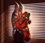 2girls ahsoka_tano alien ass breasts closed_eyes female female_only miravi_(artist) partially_clothed shaak_ti star_wars togruta yuri