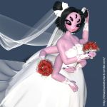3d big_breasts bouquet breasts idsaybucketsofart monster_girl muffet multiple_arms multiple_eyes spider_girl undertale wedding_dress wedding_veil