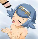 bar_censor lana nude open_mouth penis pokemon pokemon_sm small_breasts suiren_(pokemon) tongue tongue_out