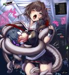 1girl black_panties blush clothed enemy_naval_mine_(kantai_collection) exposed_breast female fingerless_gloves forced handgun health_bar holding_weapon imminent_rape imminent_sex imminent_tentacle_rape kantai_collection licking_breast molestation mostly_clothed non-consensual one_eye_closed panties restrained shigure_(kantai_collection) skirt skirt_lift tentacle tentacle_around_leg tentacle_under_clothes torn_clothes weapon