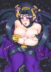 big_breasts breasts cleavage demon_girl digimon digimon_xros_wars horns lilithmon succubus tease usagiforehead_(artist)