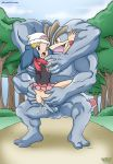 1boy 1girl ass blue_hair clothed cum cum_in_pussy cum_inside dawn dawn_(pokemon) female_human female_human/male_pokemon hands_on_ass human/pokemon interspecies machamp male/female male_pokemon no_panties outdoor outside pokemon pokepornlive sex skirt skirt_lift vaginal vaginal_penetration