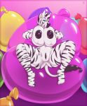1girl 1girl 2017 anthro anus areola balloon big_breasts black_nipples blue_eyes breasts clitoris equine erect_nipples furry looking_at_viewer mammal navel nipples nude presenting presenting_breasts presenting_pussy pussy seductive smile spread_legs spreading stripes tridark zebra