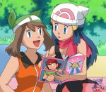 2girls :d :o arm arms art artist_request bandana bandanna bare_arms bare_shoulders beanie black_dress blue_eyes blue_hair blush brown_hair ccm cleavage collared_shirt dawn dawn_(pokemon) dress eye_contact friends green_bandana green_bandanna hair_ornament haruka_(pokemon) haruka_(pokemon_emerald) hat hikari_(pokemon) long_hair looking_at_another looking_at_each_other looking_at_viewer love magazine may multiple_girls neck nintendo open_mouth orange_clothes orange_shirt outside pokemon pokemon_(anime) pokemon_(game) pokemon_dppt pokemon_rse red_scarf scarf short_hair sleeveless sleeveless_dress sleeveless_shirt smile upper_body yuri