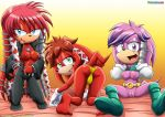 1girl archie ass bbmbbf big_ass big_breasts blue_eyes green_eyes julie-su lara-le lien-da mobius_unleashed palcomix sonic_the_hedgehog thong