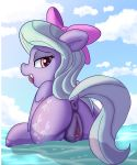 1girl anus ass cutie_mark female female_only female_pegasus flitter friendship_is_magic looking_at_viewer looking_back my_little_pony nude outdoor outdoors outside pegasus pony presenting_hindquarters pussy solo standing standing_in_water tail wings