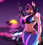 1girl 1girl 2017 5_fingers anthro belt big_breasts breasts cleavage clothed clothing delorean equine furry gun headphones high_res horn jeans mammal metalfoxxx midriff navel neon nes palm_trees pants ranged_weapon submachine_gun sunset unicorn uzi walkman weapon wide_hips