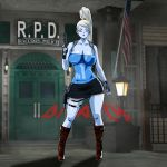 big_breasts breasts cleavage cosplay crossover dicasty1 dicasty1_(artist) dragon_ball dragon_ball_super dragon_ball_z female gun jill_valentine resident_evil resident_evil_3 solo vados weapon