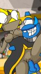blue_skin breasts dress forced gray_skin lifted_up mixels one_eye penis pussy rachel(mixels) smile snoof teeth two_eyes yellow_skin