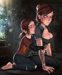 big_breasts breasts brown_hair bruise cleavage dual_persona ellie female frown green_eyes hugging looking_back scar selfcest shadman smile tattoo the_last_of_us the_last_of_us_part_ii time_paradox yuri