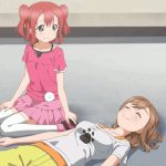 :) ^_^ akari_akaza akaza_akari anime character_request ecchi gif looking_at_another lying on_back on_ground poke poking sitting smile yuru_yuri yuruyuri