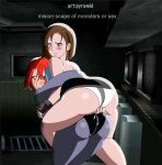 ass babe breast_grab capcom carry carrying dino_crisis fingering jill_valentine looking_at_each_other looking_back pussy pyramid_(artist) regina resident_evil_3 yuri