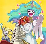 1girl angry anthro anthrofied big_breasts breasts clothing derpy_hooves_(mlp) digital_media_(artwork) dress equine feathered_wings feathers friendship_is_magic furry group high_res horn mammal my_little_pony princess princess_celestia_(mlp) royalty sssonic2 straitjacket sweater unicorn winged_unicorn wings