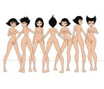 7girls aki_(samurai_jack) ami_(samurai_jack) ashi_(samurai_jack) avi_(samurai_jack) black_eyes black_hair cover_up covering_breasts covering_crotch daughters_of_aku haich lipstick name_your_order red_lipstick samurai_jack short_hair take_your_pick