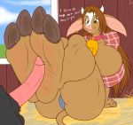 1girl 2_toes anthro barn bell bessie_(zp92) big_breasts bovine breasts brown_eyes brown_hair cattle collar cowbell dialogue duo ear_piercing english_text erection foot_fetish footjob furry hair high_res hooves horn huge_breasts male mammal penis piercing soles solo_focus text toes two-footed_footjob zp92