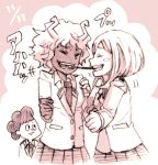 1boy 2_girls ashido_mina bad_id boku_no_hero_academia closed_eyes josie-irie_(mosamosapanda) lowres mina_ashido mineta_minoru minoru_mineta monochrome monster_girl multiple_girls my_hero_academia ochako_uraraka pocky pocky_kiss school_uniform shared_food short_hair smile uraraka_ochako