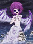 female mystia_lorelei purple_hair short_hair skull topless touhou wings