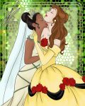 2_girls art beauty_and_the_beast black_hair brown_hair closed_eyes dark_skin disney dress interracial kissing long_hair love multiple_girls mutual_yuri neck neck_kiss orange_hair princess_belle short_hair theminions13 thumbelina yuri