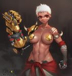 1girl abs armlet artist_name baggy_pants bare_shoulders big_breasts bodypaint breasts brown_lipstick clenched_hands collarbone cyborg dark_skin doomfist_(overwatch) elbow_gloves eyelashes facepaint facial_mark fingerless_gloves genderswap genderswap_(mtf) gloves groin high_res lips lipstick looking_at_viewer makeup midriff navel overwatch pants pasties power_fist red_eyes robot_ears short_hair spikes standing stomach thighs toned upper_body vana very_dark_skin white_hair white_pants