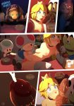 2017 adultery bed bedroom being_watched blonde_hair blue_eyes blush breasts clothing comic crown cuckold cum dialogue fellatio freckles gloves group group_sex hair high_res human interspecies legwear licking long_hair male male/female mammal mario mario_bros markings mask masturbation nintendo not_furry nude oral orgasm penis princess_peach sex shyguy sinner_(artist) spread_legs spreading surprise toad_(mario) tongue tongue_out video_games voyeur