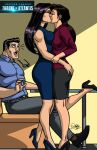 1boy 2_girls art ass_grab bare_legs black_hair blue_dress blue_eyes chair clark_kent closed_eyes dc_comics dc_comics dc_universe diana_prince dress glasses glasses_removed hugging indoors kaywest kaywest_(artist) kissing legs lois_lane long_hair love multiple_girls mutual_yuri neck open_mouth ponytail short_hair sitting sleeveless sleeveless_dress standing standing_on_one_leg superman superman_(series) surprised table wonder_woman wonder_woman_(series) yuri