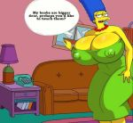 big_breasts blue_hair breasts dress enormous_breasts green_dress huge_breasts looking_at_viewer marge_simpson milf text the_simpsons yellow_skin