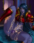 1girl after_sex aka6 arm_support blue_hair blue_lipstick blue_skin bottomless braid bukkake clitoris cum cum_in_pussy cum_on_body cum_on_lower_body cum_on_upper_body facial league_of_legends leg_grab leg_lift lipstick looking_at_viewer navel pointy_ears pussy shyvana sitting solo spread_legs thick_thighs thighs twin_braids uncensored very_long_hair